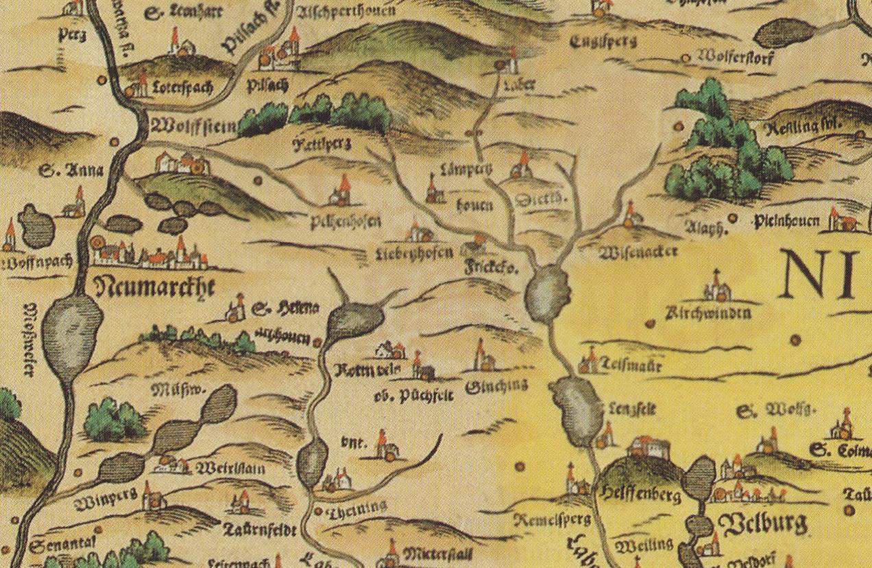 Karte der Gegend um Sengenthal, Philipp Apian 1568