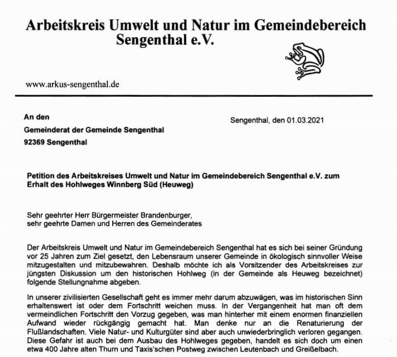 Petition und Stellungnahme zum Hohlweg